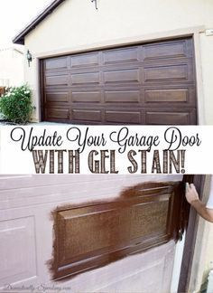 Creative Ways to Increase Curb Appeal on A Budget - Update Garage Door With Gel Stain - Cheap and Easy Ideas for Upgrading Your Front Porch, Landscaping, Driveways, Garage Doors, Brick and Home Exteriors. Add Window Boxes, House Numbers, Mailboxes and Yard Makeovers http://diyjoy.com/diy-curb-appeal-ideas