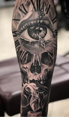 Skull Rose Tattoos, Skull Sleeve Tattoos, Leg Sleeve Tattoo, Tattoo Sleeve Designs, Forarm Tattoos, Dope Tattoos, Hand Tattoos, Tattoos For Guys, Calf Tattoo Men