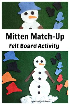 Kids can help the snowman fine matching hat and mittens to place on the felt board. This simple color sorting activity supports early learning skills including math, fine motor, language and creative. Have fun with a felt board activity with preschoolers. Flannel Board Stories, Felt Board Stories, Felt Stories, Flannel Boards, Educational Activities For Preschoolers, Preschool Crafts, Toddler Activities, Preschool Activities, Preschool Winter