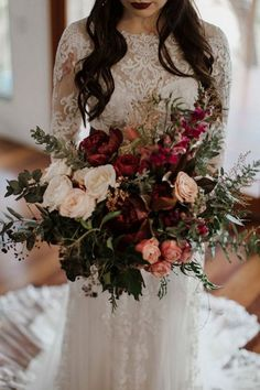 Silver Sage Green Wedding Color Ideas for 2019 boho wedding bouquet ideas - deep red and greenery stunning wedding bouquetsboho wedding bouquet ideas - deep red and greenery stunning wedding bouquets Boho Wedding Bouquet, Bride Bouquets, Floral Wedding, Wedding Colors, Wedding Bride, Elegant Wedding, Flower Bouquets, Romantic Weddings, Bohemian Chic Weddings