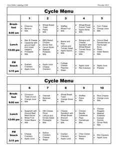 Cycle menu template cacfp weekly menu planning doc for Cacfp menu template