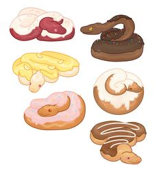Made some new stickers! I saw that picture of snakes that looked suspiciously like donuts and got an idea haha.Available as stickers here. Cute Kawaii Drawings, Cute Animal Drawings, Animal Sketches, Kawaii Art, Horse Drawings, Drawings Of Snakes, Snake Drawing, Snake Art, Drawing Art