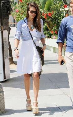 @roressclothes clothing ideas #women fashion Jessica Alba Simple White Sundress