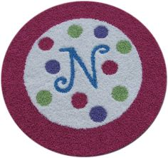 Border Rug with Initial and Polka Dots!