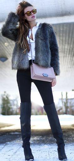 Josefin Ekstrom Gray Faux Fu Jacket Fall Street Style Inspo                                                                             Source