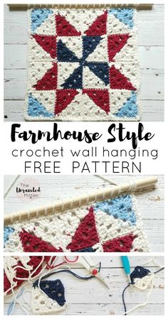 Barn Quilt Inspired Crochet Wall Hanging Free Crochet Pattern The Unraveled Mitten Add some farmhouse style to your home today! Motifs Granny Square, Sunburst Granny Square, Granny Square Crochet Pattern, Crochet Squares, Crochet Blocks, Crochet Granny, Crochet Motif, Square Quilt, Crochet Designs