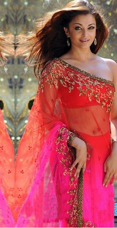 vibrant ombre plum & red embroidered saree on aishwarya @ $92.50