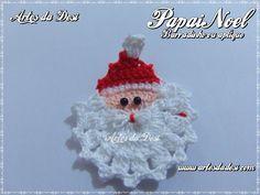 Passo a Passo Papai Noel em Crochê para barrados ou aplique Crochet Christmas Decorations, Christmas Tree Pattern, Crochet Christmas Ornaments, Christmas Crochet Patterns, Crochet Snowflakes, Christmas Crafts, Crochet Motif, Crochet Designs, Crochet Santa