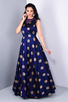 Wedding Dress Gown, Rent NIYOOSH Navy Blue Brocade Gown at Flyrobe Full flare navy blue gown. Indian Wedding Gowns, Indian Gowns Dresses, Brocade Dresses, Wedding Dress, Long Gown Dress, Frock Dress, Saree Dress, Long Dresses, Pretty Dresses