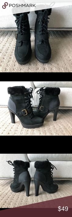 Ralph Lauren Suede booties with a fur topper these are cuties and go great with leggings gold buckle can be worn for snow #snowboot you will really want to use! Ralph Lauren Shoes Ankle Boots & Booties