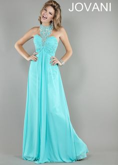 Beautiful Turquoise Beaded Halter Evening Gown - Prom Dresses 2013 - Jovani 1998 - RissyRoos.com