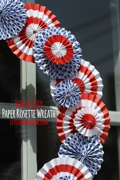 Fourth of July Wreath - Perfect for Patrotic decorations! Made from Paper Rosette Wreath |  littleredwindow.com
