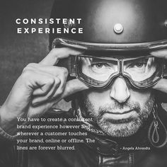 Are you consistent with your branding accross all platforms which includes the brick-and-mortar world? Take an audit of all your brand touch points and align all of them. Angela Ahrendts, Brick And Mortar, Brand Building, Consistency, Helmets, Platforms, Mens Sunglasses, Branding, Touch