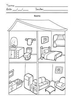 House With Rooms Coloring Pages