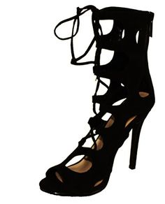 Breckelles Womens Roma61 Gladiator Style Lace up  Back Zip Peep Toe High Heel Sandals Black 8 ** This is an Amazon Affiliate link. Want additional info? Click on the image.