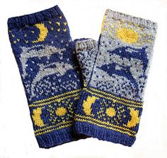Ravelry: Sun Moon and Dolphins Fingerless pattern by Erica Mount