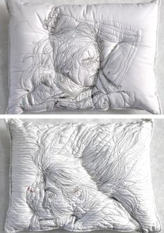 This contemporary fiber artist uses embroidery thread to depict people sleeping on homemade pillows.