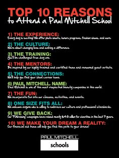Attend Paul Mitchell School. Top 10 Reason to attend a Paul Mitchell School!
