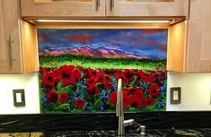 New Mexico Sunset and Poppies Glass Mural   Designer Glass Mosaics