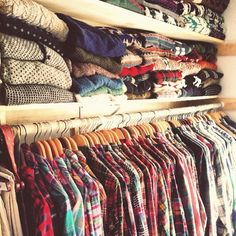 Autumn closet full of plaid shirts and sweaters :)