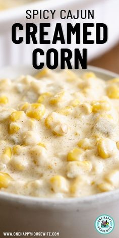 An easy and delicious side dish, this Cajun Creamed Corn has just the right amount of kick and creaminess. Spicy creamed corn that's perfect for the whole family. Creamed Corn Recipes, Cajun Recipes, Beef Recipes, Cooking Recipes, Cajun Food, Cajun Cooking, Creole Recipes, Vegetable Recipes, Yummy Recipes