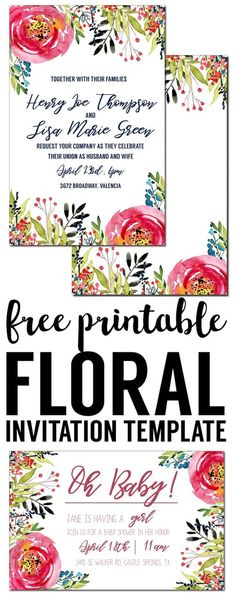 Floral Invitation Template free printable. Free invitation template for a birthday party, wedding, bridal shower, baby shower or spring party. Free invitation templates.