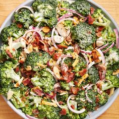 Keto Broccoli Salad Ingredients kosher heads broccoli, cut into bite-size c. shredded red onion, thinly c. toasted sliced slices bacon, cooked and tbsp. freshly chopped chives FOR THE c. Salad Recipes, Keto Recipes, Healthy Recipes, Healthy Eats, Free Recipes, Healthy Life, Healthy Living, Dessert Recipes, Cooking Recipes