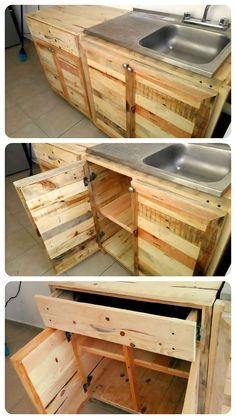 Recycled Pallet Kitchen wholly made from Recycled Wooden Pallet Projects, Diy Pallet Furniture, Furniture Projects, Furniture Websites, Furniture Movers, System Furniture, Furniture Nyc, Wooden Crafts, Furniture Plans