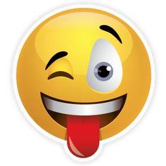 "1.5"" Sticking Tongue Out Emoji Sticker! Get your favorite emoji stickers and magnets at StuckonEmojis.com #emojis $2.00"