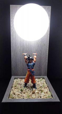 luminária abajur + boneco goku dragon ball genki dama