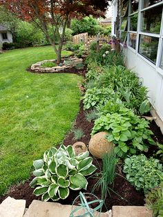 This is the bed near our 3 seasons room. I have this year enlarged my veggie garden and removed the arbor, relocated the gate. The arbor will now be on the backside of the veggie garden, (when I get time) which is the side gate.
