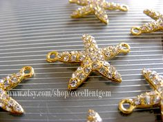 Rhinestone Starfish, 5pcs gold plated with clear Crystal Rhinestone bracelet Connector, Pendant-25mm