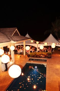 Zig zag of Cafe Lights and Lanterns (hung onto the cafe bulbs)