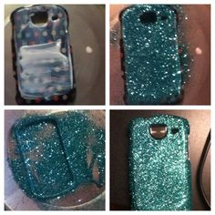 DIY Glitter Phone Case -glitter  -mod podge -hairspray  Cover Only the back of the case with mod podge. Sprinkle glitter on, shake off excess. Repeat process on the sides. Let dry for at least an hour. To finish, spray with hairspray. I did 4 coats.
