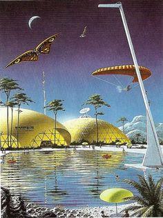 science fiction illustrations from the Cyberpunk, Sci Fi Kunst, Science Fiction Kunst, 70s Sci Fi Art, World Of Tomorrow, Classic Sci Fi, Futuristic City, Sci Fi Fantasy, Fantasy Books