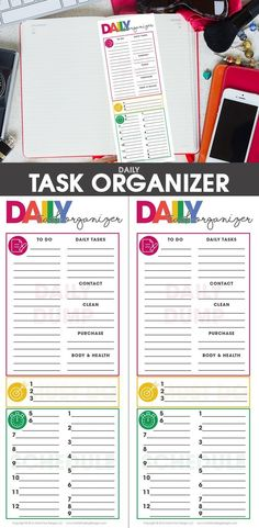 This free printable Daily Task Organizer has helped me to get more focused every day, prioritize & get more done in less time! Spending just a few minutes everyday to get it filled out has changed chaotic day into well organized system! Free Planner, Blog Planner, Planner Pages, Happy Planner, Planner Ideas, Weekly Planner, Free Printable Calendar, Printable Planner, Free Printables