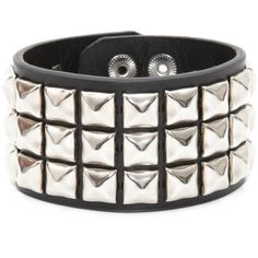 Three Row Stud Wristband | Hot Topic (685 RUB) ❤ liked on Polyvore featuring jewelry, bracelets, accessories, wristbands, stud, hot topic jewelry, studded jewelry and hot topic