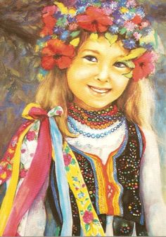 Girl wearing a traditional folk outfit from Krakow Polish Folk Art, Folk Clothing, Painting Of Girl, Islamic Pictures, My Heritage, Painting Inspiration, Fantasy Art, Arts And Crafts, Drawings