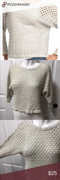 """CAbi Sweater XS Pullover 707 Tan Crochet Dolman CAbi Sweater XS Small Seaside Pullover Style #707 Tan Knit Crochet Dolman Sleeve  Very pretty! Great for layering.  Tagged XS but please see measurements to ensure proper fit.  Measured laying flat unstretched   Bust 22"""" (large measurement due to dolman sleeves, very open in the chest) Length 19.5""""  See photos. Ask any questions before purchasing CAbi Sweaters Crew & Scoop Necks"""