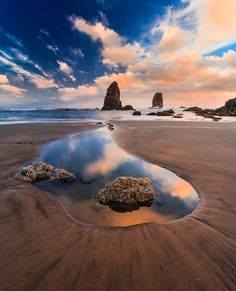 Stacks  during the low tide at Cannon Beach, Oregon USA