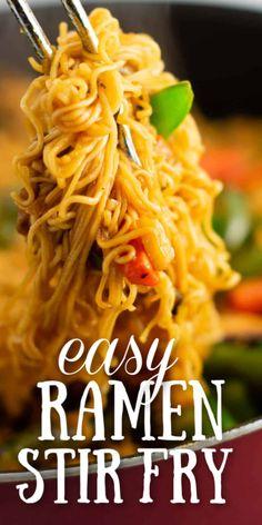 easy ramen noodle stir fry recipe - making this for dinner one day this week! easy ramen noodle stir fry recipe - making this for dinner one day this week! Ramen Noodle Recipes, Stir Fry Recipes, New Recipes, Vegetarian Recipes, Cooking Recipes, Easy Noodle Recipes, Top Ramen Recipes, Chinese Food Recipes, Ramen Noodle Salad