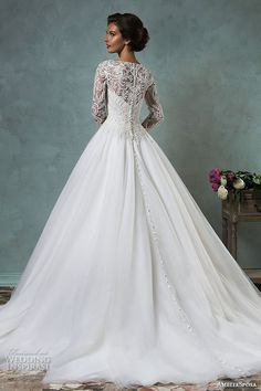 amelia sposa 2016 wedding dresses boat neckline lace long sleeves embroideried bodice beautiful a line ball gown wedding dress leticia back view