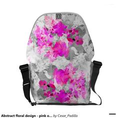 Abstract floral design - pink on white and gray courier bag