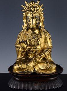 ANTIQUE CHINESE GOLD GILT BRONZE BUDDHA FIGURE HARDWOOD STAND MING DYNASTY Buddha Figures, Rough Diamond, Buddhism, Egypt, Cave, Hardwood, Cool Designs, Chinese, Bronze