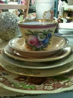 Mismatched China... wouldn't have it any other way!  #woodbury #ct #vintage #maisonstgermain