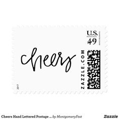 Cheers Hand Lettered Postage Stamps