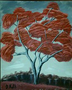 The red tree !!! Ζωγραφική σε καμβά με ακρυλικά χρώματα 16/04/2015 #painting Trees, Painting, Art, Craft Art, Painting Art, Kunst, Paint, Draw, Home Decor Trees