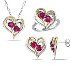 Miadora Sterling Silver Created Ruby and /10ct TDW Diamond Heart Earrings Ring and Necklace Set