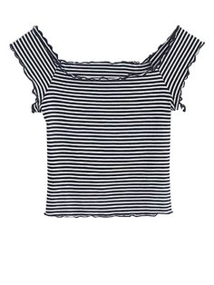Off Shoulder Ruffles Striped Crop Top STRIPE: Tees | ZAFUL