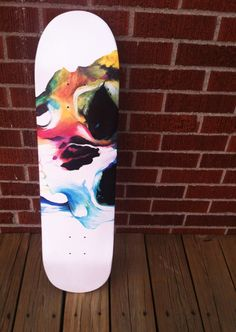 Skate deck painted for Ashe Supply Co. by artist Kelsey Sugg. #acrylic #skateboard #skatedeck #painting #skull #skeleton